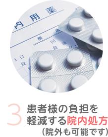 3.患者様の負担を 軽減する院内処方(院外も可能です)